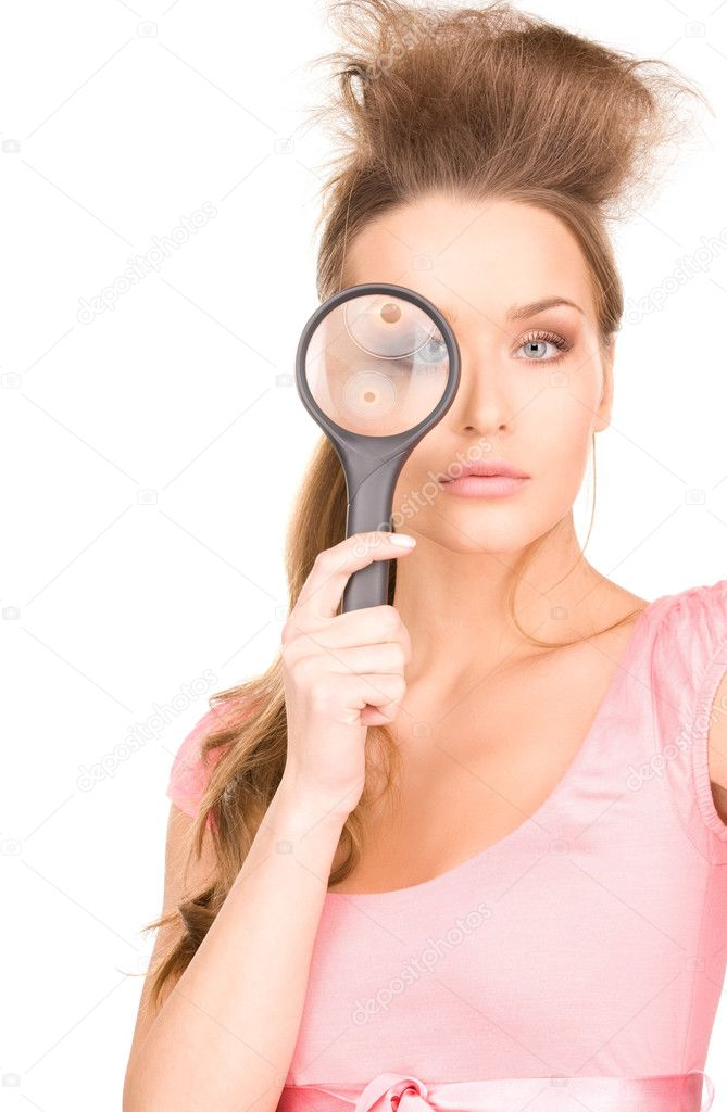 Picture of lovely woman with magnifying glass — Stock Photo #3465752