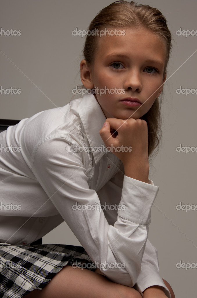 Picture of lovely girl over grey background — Stok fotoğraf #3478168