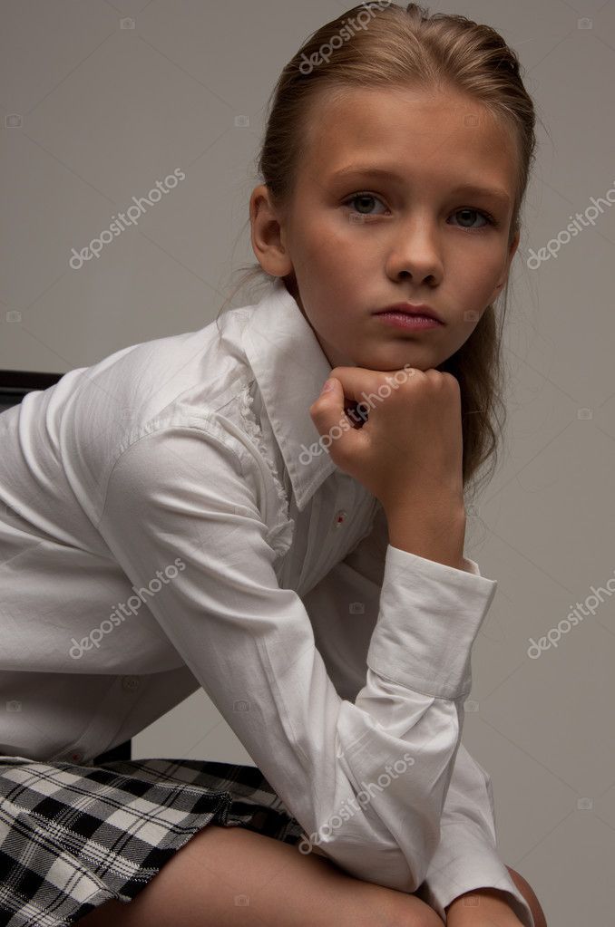 Picture of lovely girl over grey background — Photo #3478168