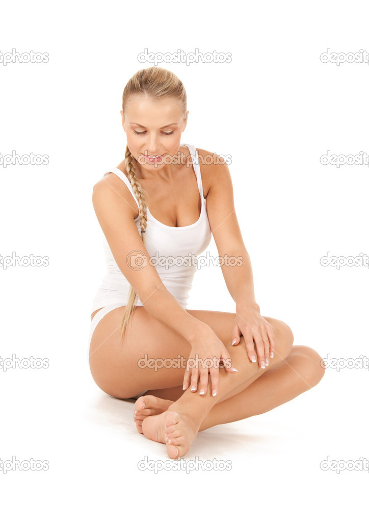 Picture of lovely woman in white cotton underwear  Stock Photo #3496106
