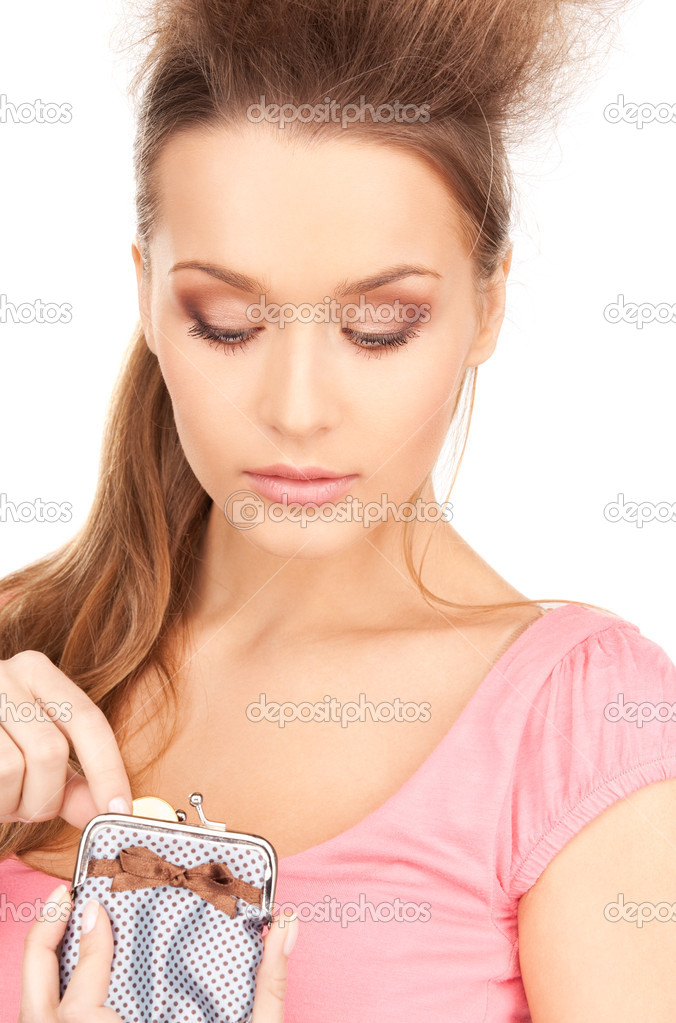 Picture of lovely woman with purse and money — Stock Photo #3550672