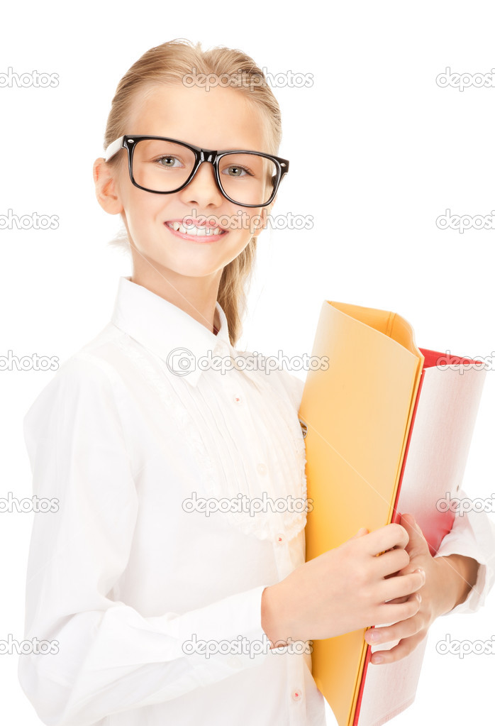 Picture of an elementary school student with folders — Stock Photo #3560146