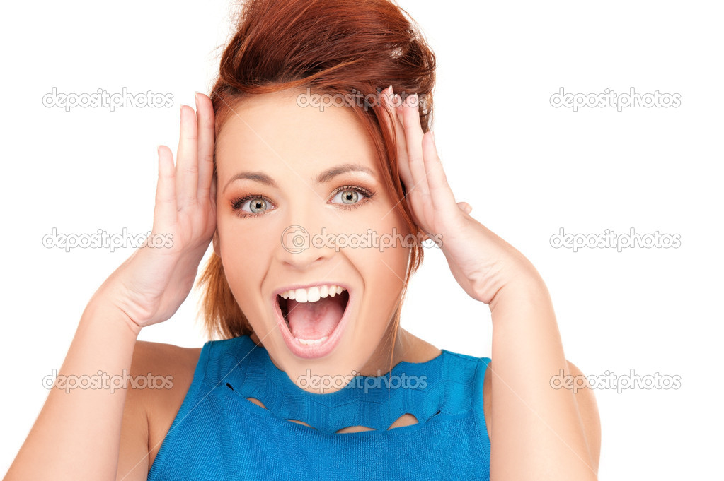 Picture of woman with facial expression of surprise — Stock Photo #3561295