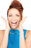 Surprised woman face — Stockfoto