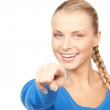 Businesswoman pointing her finger — Stock Photo #3602059