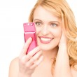 Happy woman with cell phone — Stock Photo #3606921