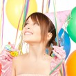 Party girl with balloons — Foto Stock