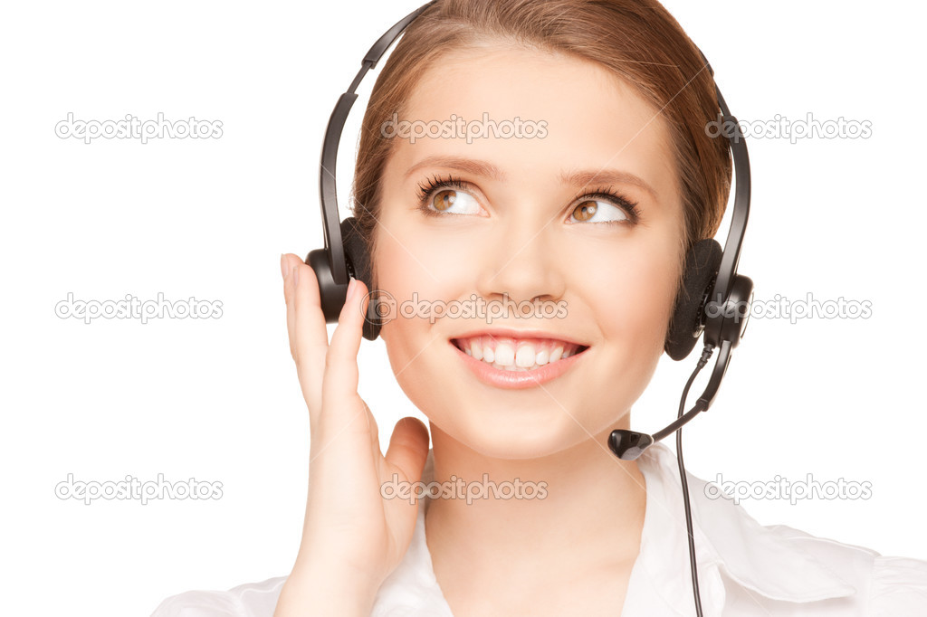 Bright picture of friendly female helpline operator — Stockfoto #3665956
