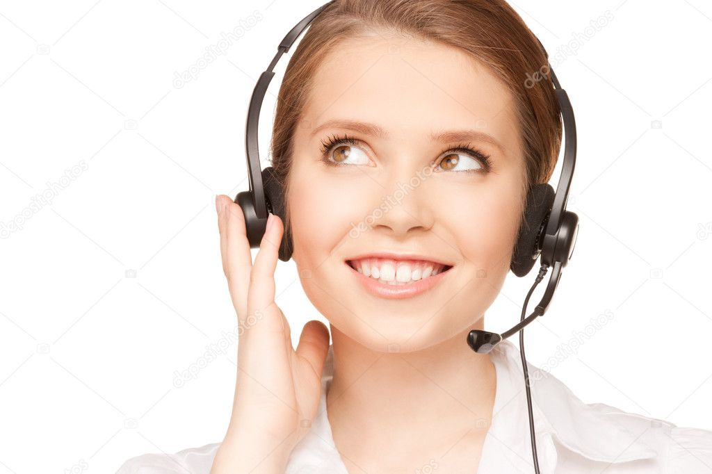 Bright picture of friendly female helpline operator — Foto de Stock   #3665956