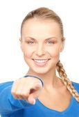 Kobieta wskazując palcem — Zdjęcie stockowe