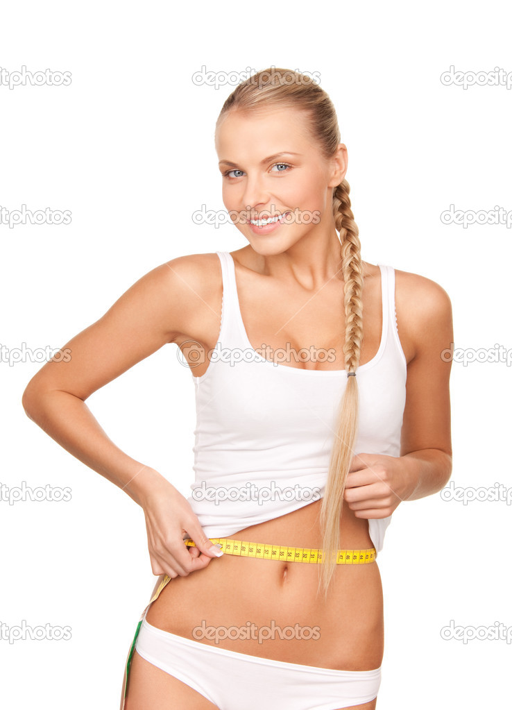 Young beautiful woman with measure tape over white — Stock Photo #3671177