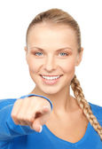 Iş kadını onun parmak işaret — Stok fotoğraf