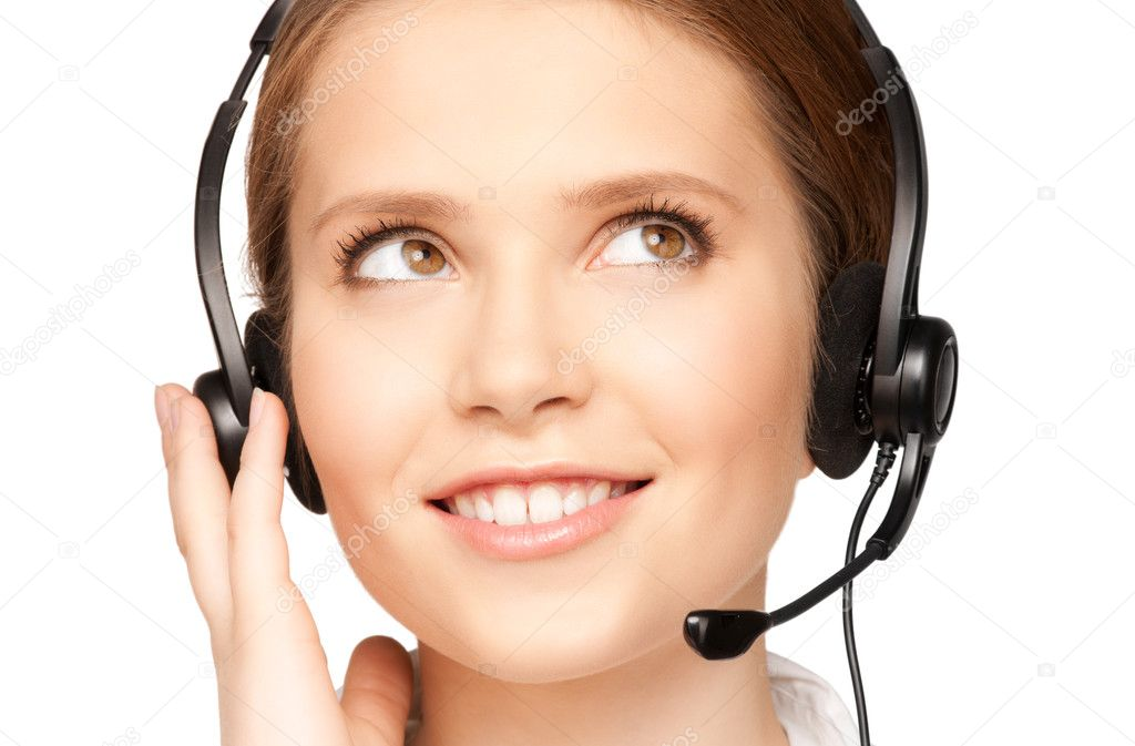 Bright picture of friendly female helpline operator — Stock Photo #3718314