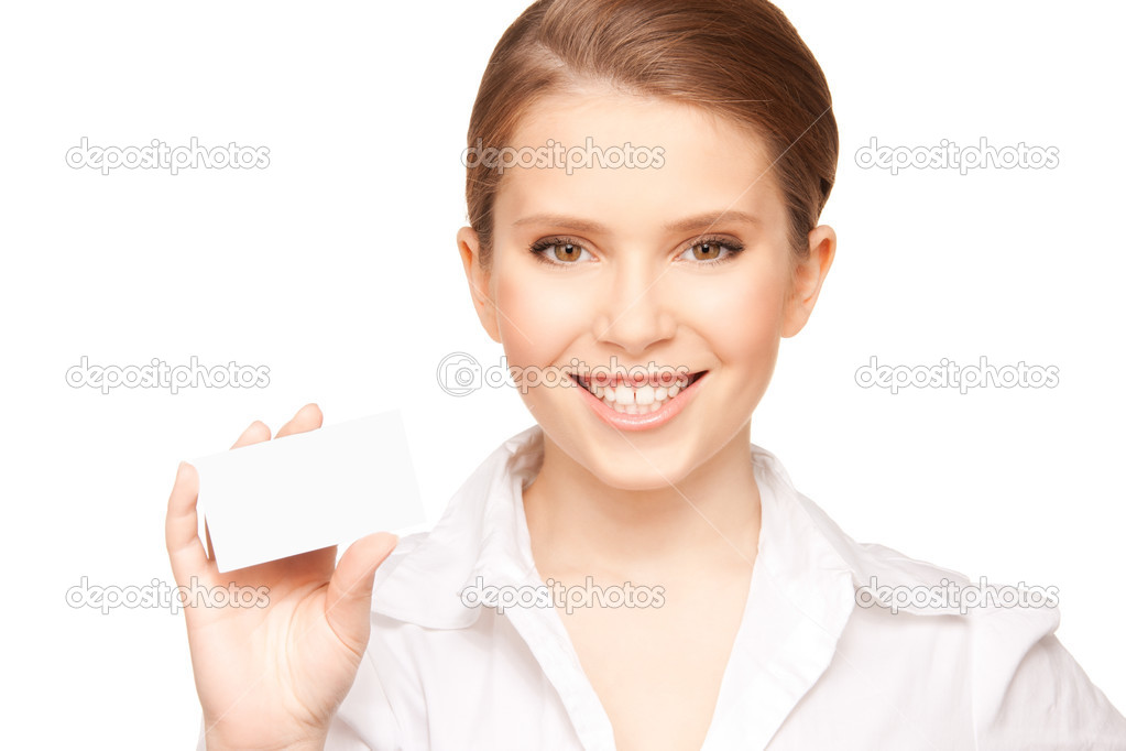 Picture of woman with business card over white  Stock Photo #3718318