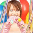 Party girl with balloons — Stock Photo #3735174