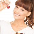 Woman with cherries — Stock Photo #3743786