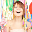 Party girl with balloons — Stockfoto