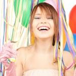 Участник девушки с воздушными шарами — Стоковое фото