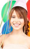 Strana dívka s balónky — Stock fotografie
