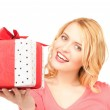 Happy woman with gift box — Stock Photo #3793672