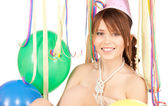 Party girl with balloons — Stock fotografie