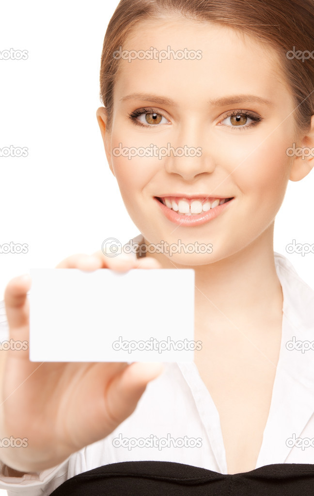Picture of woman with business card over white — Stock Photo #3825339
