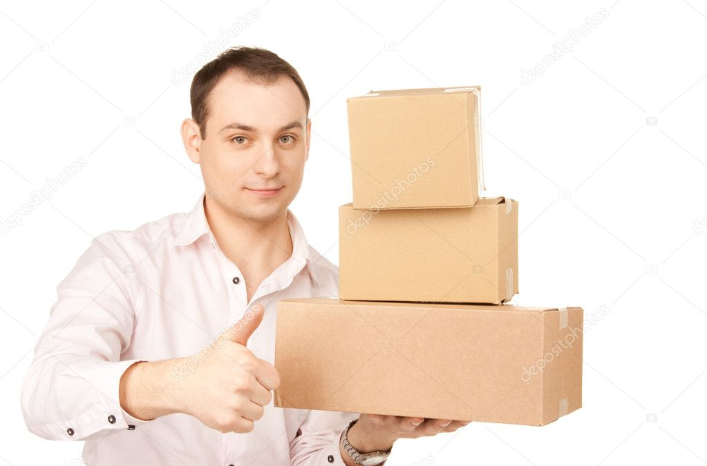 Picture of businessman with parcels over white — Stock Photo #3825408