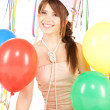 Party girl with balloons and gift box — Stock Photo #3832353