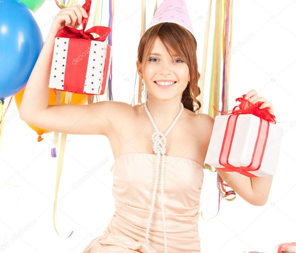 Happy teenage party girl with balloons and gift box — Stock Photo #3840062