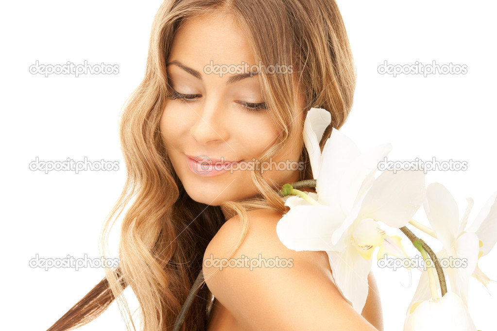 Picture of beautiful woman with white flower — Stock Photo #3848632