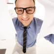 Funny picture of businessman in office - Stok fotoğraf