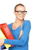 Businesswoman with folders — Stock Photo