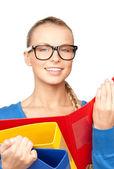 Kobieta z folderów — Zdjęcie stockowe