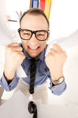 Funny picture of businessman in office — Stock Photo