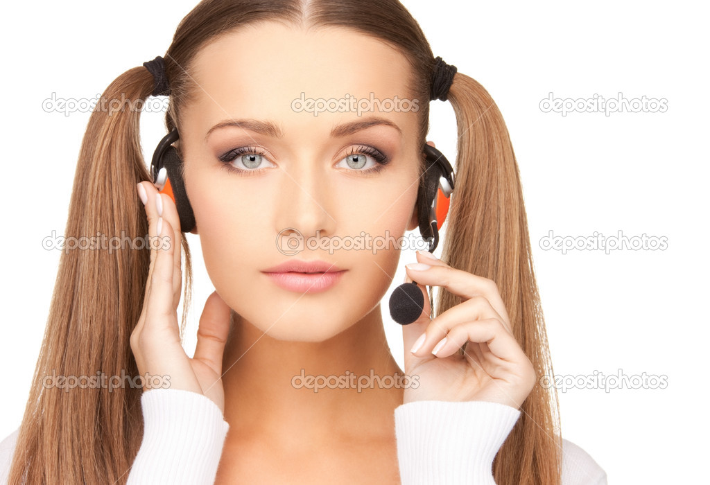 Bright picture of friendly female helpline operator — Stock Photo #3924430