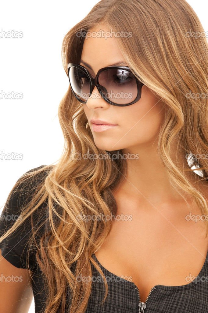 Portrait of lovely woman in shades over white  Stok fotoraf #3947889