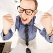 Funny picture of businessman in office — Stock Photo #3973066