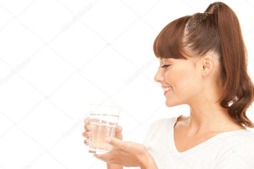 Beautiful woman with glass of water over white — Stok fotoğraf #3973182