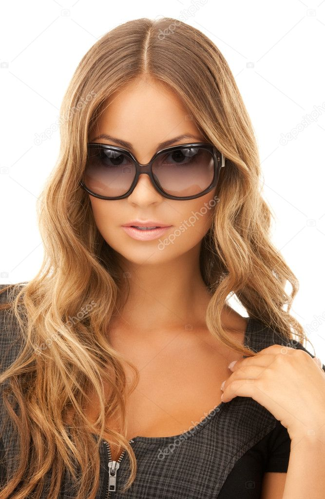 Portrait of lovely woman in shades over white — Stock Photo #4029179