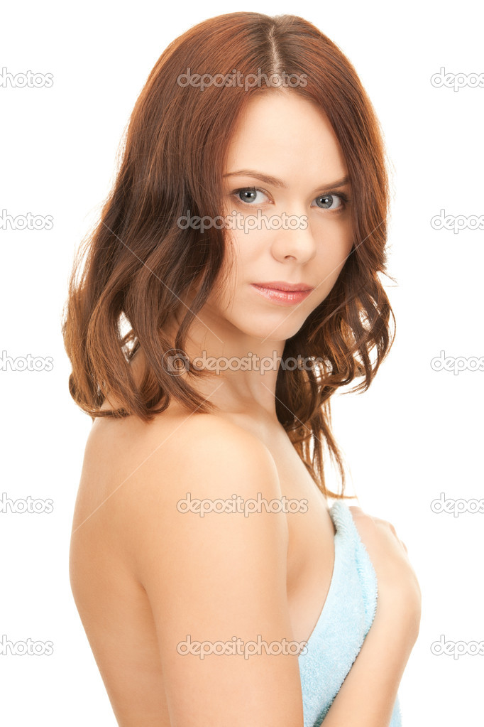 Bright picture of lovely woman in towel over white — Stock Photo #4045397