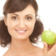 Young beautiful woman with green apple — Stock Photo #4080839