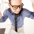 Funny picture of businessman in office - Stock Photo