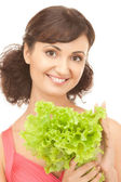 Woman with lettuce — Stock Photo