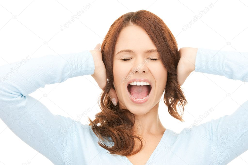 Bright picture of screaming woman over white  Stock Photo #4085716