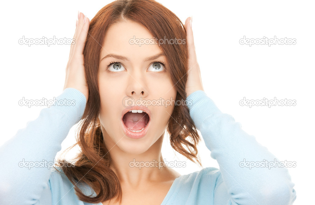 Bright picture of screaming woman over white — Stock Photo #4133696