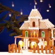 Gingerbread house over christmas background - Zdjęcie stockowe