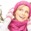 Beautiful woman in winter hat - Stock Photo
