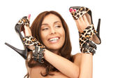 Lovely woman with leopard shoes — Foto Stock