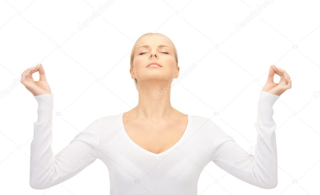 Bright picture of woman in meditation over white — Stock Photo #4283872