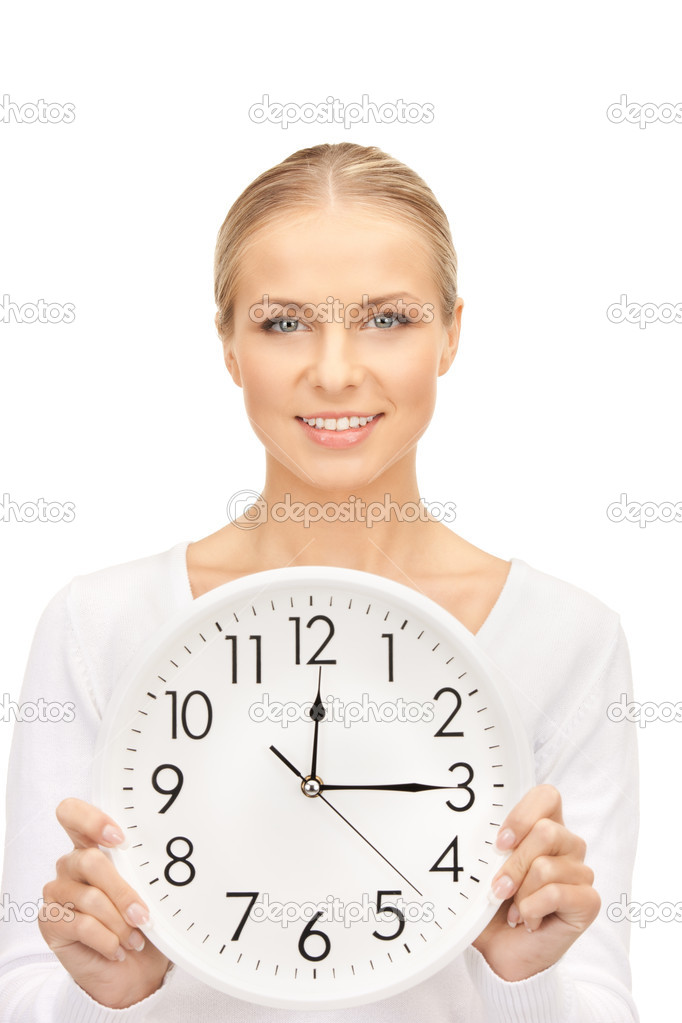 Picture of woman holding big clock over white  Stock Photo #4283899